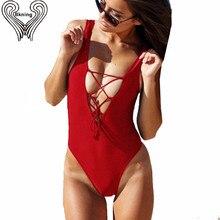Lace Up Black One Piece Swimsuit Women Thong Bikini Padded Biquini Swim Biquine Swimwear Beach wear Bodysuit Bathing Suit H015