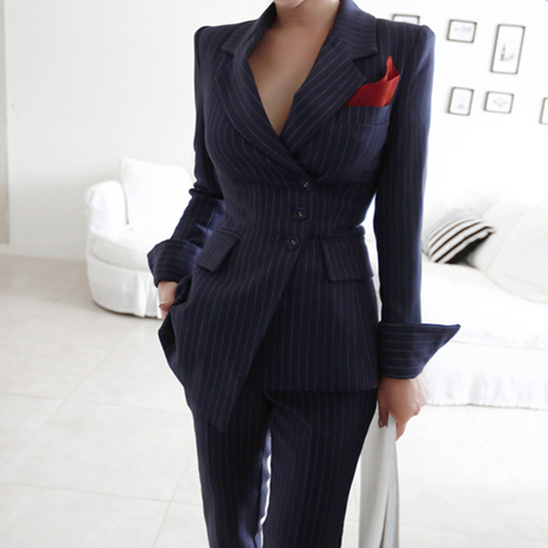 2019 Autumn Women Fashion Casual Stripe Lrregular Two Piece Set Long Sleeve Blazers Coat + Slim Full Length Pant Set