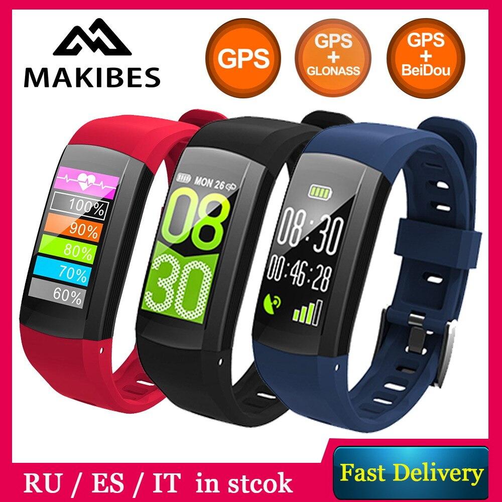 RU/ES/DE En Stock!! MAKIBES G04 Bluetooth Smart Bracelet montres horloge podomètre Sport Bracelet GPS L'activité RH Fitness Tracker