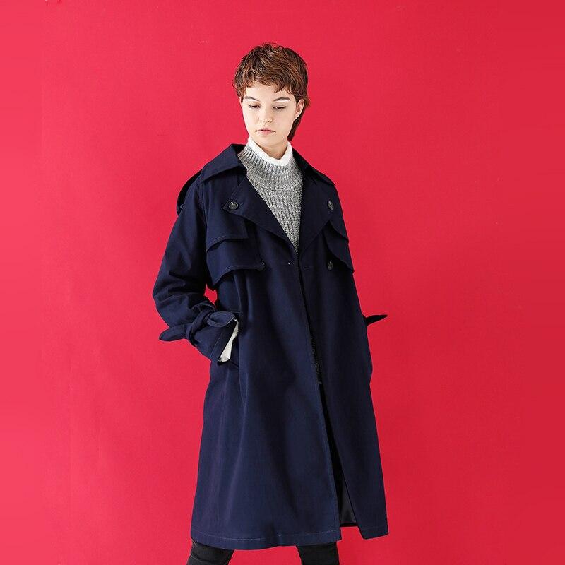 Manches Casaco Solide Tranchée Style Longues Feminino navy Étanche Manteau Khaki Coupe Breasted vent Femelle Japonais Double Britannique Camel Toyouth Blue IZwq508I