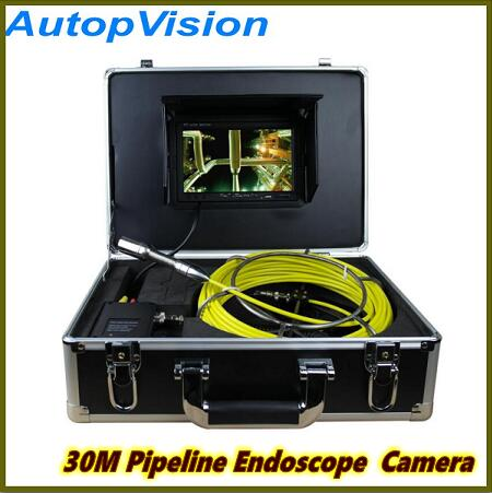 New Arrival 30m Cable 7'' TFT LCD Sewer Pipeline Endoscope Inspection Snake Camera Steel Lens Waterproof with dvr 20m cable fiber glass 7 tft lcd waterproof pipe sewer inspection camera ccd600tvl with meter accounter endoscope snake camera
