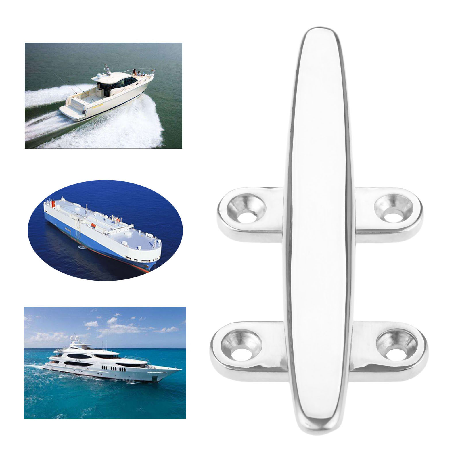 """Marine 6/"""" Flat Top Low Silhouette Boat Cleat 316 Stainless Steel 150 mm"""
