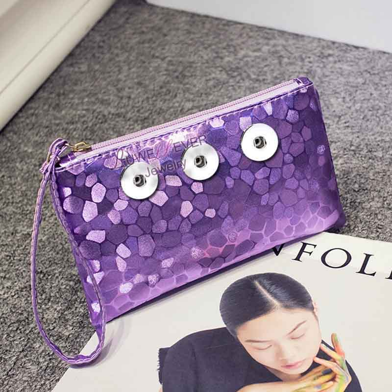 Hot Sale 01 Colorful Stone Pattern Women Bag Snap Purse Pu Leather Snap Button Wallet Bags 18mm Charms Fashion Jewelry