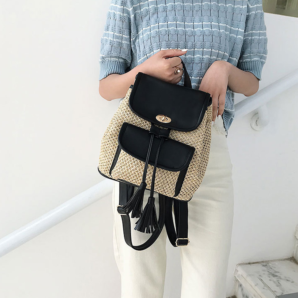 Fashion Ladies Backpacks New Woven PU Stitching Straw Bags Student Bag Summer Casual Wild Tassel Ladies Backpack Travel Bag in Backpacks from Luggage Bags