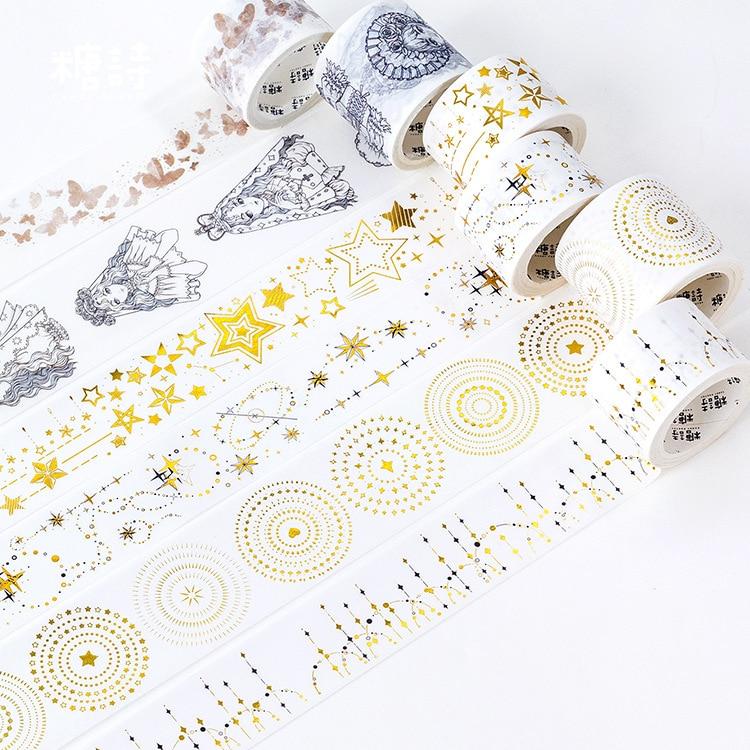 Dream Shining Star Gilding Washi Tape Adhesive Tape DIY Scrapbooking Sticker Label Masking Tape