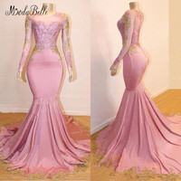 modabelle Pink Evening Dress Long Sleeves Mermaid Long Prom Dresses Black Girls Gold Lace Formal Party Evening Gowns