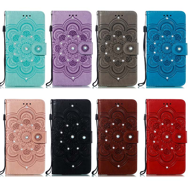 Jewelled PU Leather Case For Samsung Galaxy A51 A <font><b>10</b></font> 20 20e 30 40 <font><b>50</b></font> 70 10s 20s Flower Leather + Soft TPU Stand Flip Case Cover image