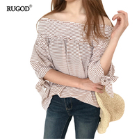 RUGOD Bowknot Special Designs Stripped Chiffon Blouse Off Shoulder Elastic Slash Neck Chic Sexy Shirt Casual