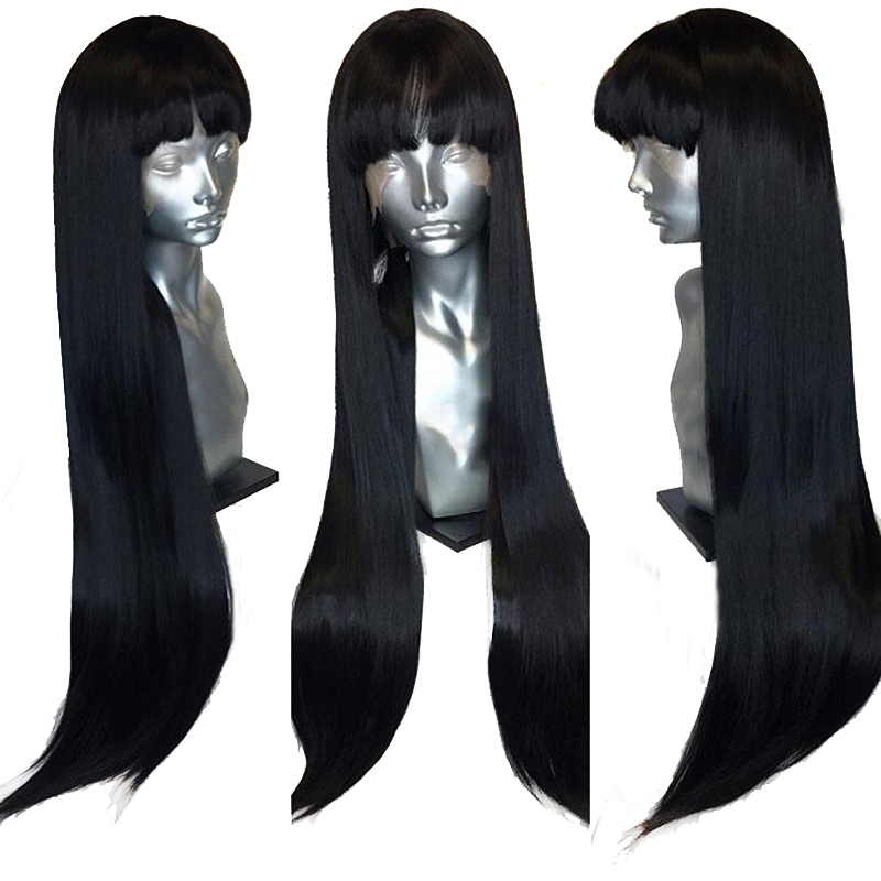 360 Lace Frontal Long Straight 100 Human Hair Wigs With Front Bangs Fringe Remy Brazilian Glueless