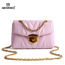 GENMEO Brand New Arrival Genuine Leather Handbag with Chain Shoulder Strap and Metal Lock Women Cow Tote Bags Bolsa