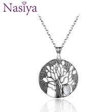 Natural Moonstone Life Tree Pendant  Necklace For Women Fine Sterling Silver 925 Jewelry Daily Birthday Anniversary Gift