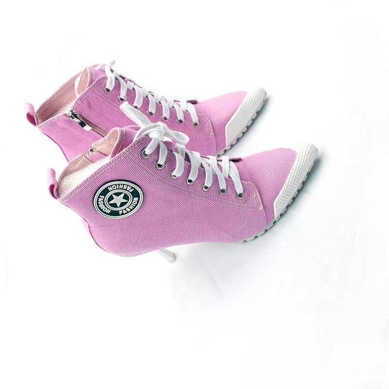 2018 New Women's Shoes Canvas Ladies Shoes Boots Denim High Heels 8.5CM Female Canvas Pumps Lady's Ankle Boots Lace-Up Thin Heel