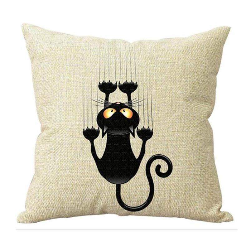 Cute Cat Soft Cotton Linen Cushion cover Animal Pattern Printed Bed Throw Pillow Case Cover Cafe Home Decorative Pillowcase