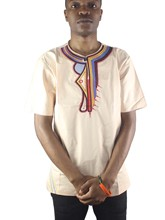 Africa Asymmetric Embroidery Men`s Ethnic Tops Short Sleeved Henley Shirts for Summer Wearing