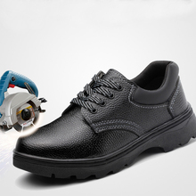 Labor Shoes Steel Toe Cap Work Boots Construction Men Outdoor Fiber Leather Puncture Proof High Quality Safety