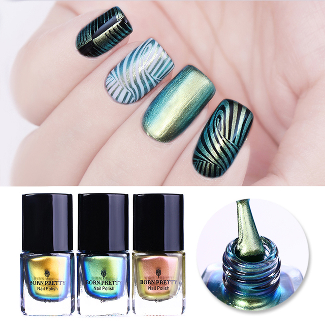 US $4 99  BORN PRETTY 6ml Rose Gold Chameleon Nail Stamping Polish Colorful  Manicure Nail Art Plate Printing Nail Lacquer-in Nail Polish from Beauty &