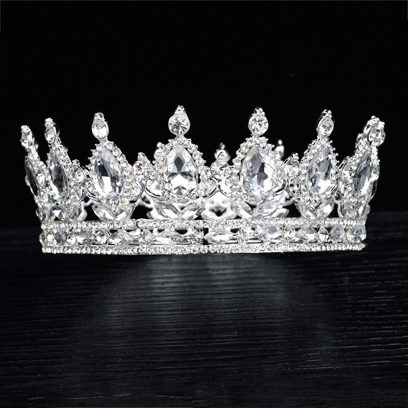 Trendy Multicolored Crystal Silver Queen Wedding Crown Round Bridal Tiara Rhinestone Diadema Head Jewelry Hair Accessories 1-14