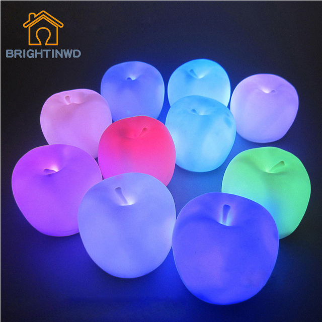 hot sale little for apple shape led night light novelty lamp changing colors xmas home decor