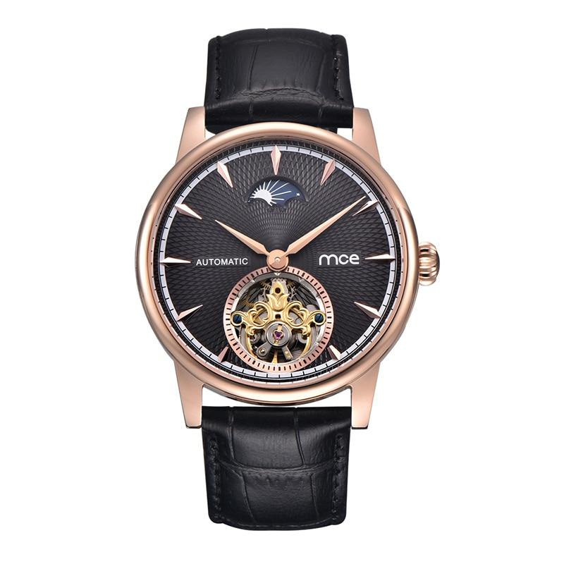 MCE brand men moon phase movement automatic mechanical luxury fashion watch mce fashion scale gear dial analog automatic mechanical watch