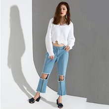[EAM] 2018 spring Fashion New Hole Zipper Jeans Tide All-match Loose Straight Denim Tenths Pants Women Y64805S