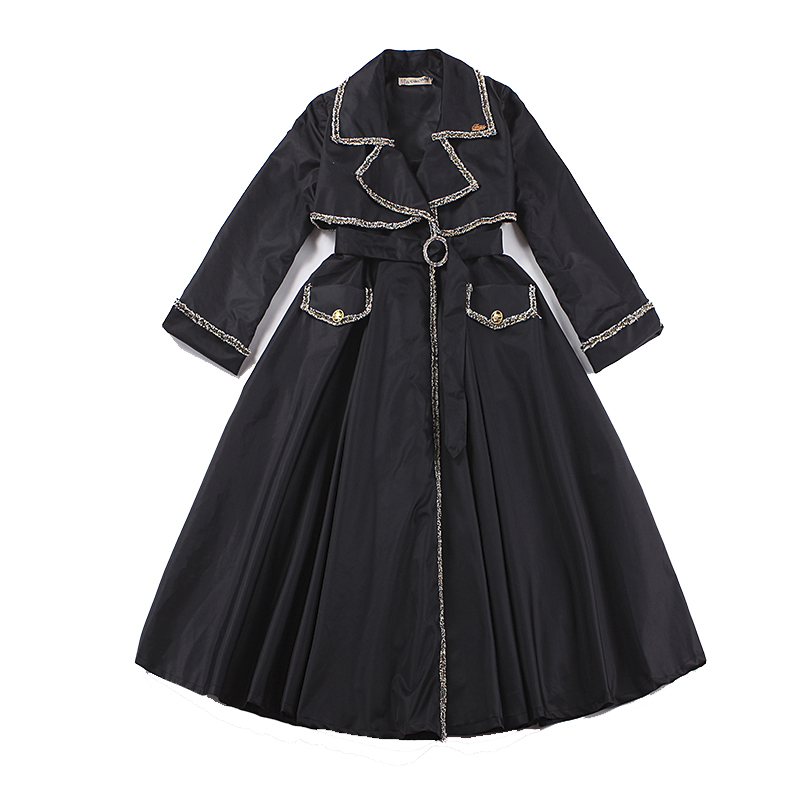 a54c882ab52 2017 Autumn Black Women s Faux Leather Trench Coat Slim Solid Winter Coat  Belt Long Trench Female Outerwear Plus Size Talever
