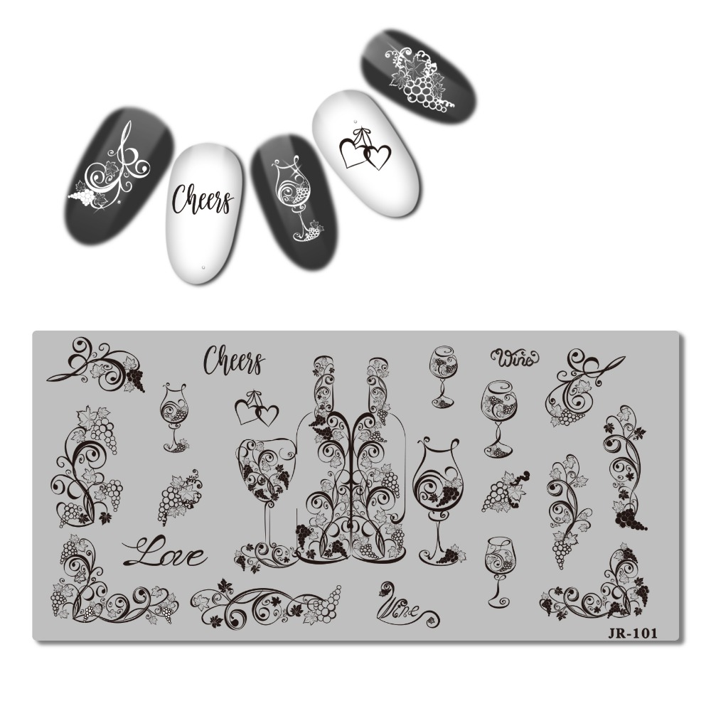 Image 3 - 2018 Stainless Steel Stamping Plate Template Xmas Christmas Snow Tea Cup Mandala Red Wine Flower Love Easter Nail Tool JR101 110-in Nail Art Templates from Beauty & Health
