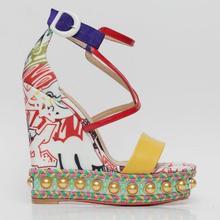 Moraima Snc Sexy Cross-tied Platform Wedge Sandal for Woman Flower Prined Cutout