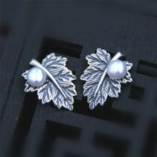 Natural Pearl Earrings Real 925 Sterling Silver earrings for women Maple Leaf Pearl Beads Women stud Earrings Fine Jewelry