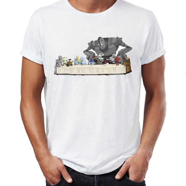 Для мужчин футболка Тайная вечеря благодаря Железный Гигант R2d2 робот  удивительный Тройник 575a59766eaed