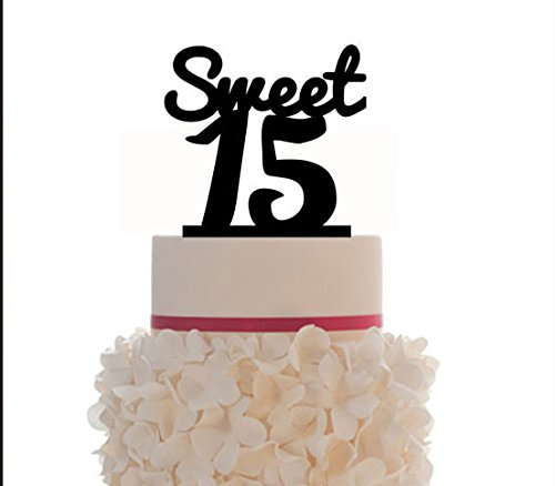 Sweet Fifteen Birthday Cake Topper Acrylic With Letter Design For Anniversary Decoration Party 12 Colors