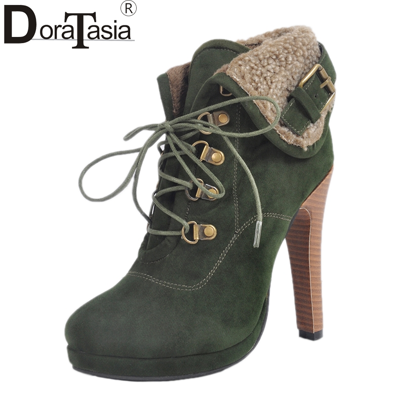 DoraTasia 2017 Large Size 34-47 Flock Women Boots Super Spike High Heels Classic Western Woman Shoes Leisure And Consice акустика центрального канала piega classic center large macassar high gloss