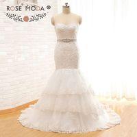 Потрясающие Алансон Кружево Русалка свадебное платье со съемной Кристалл Sash многоуровневой юбкой корсет Назад Свадебное платье настоящая