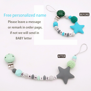 Image 2 - Colorful Silicone Personalized Letter Pacifier Clips Funny Chupetero Chain For Infant Feeding Toddle Chew Toy Clips BPA Free