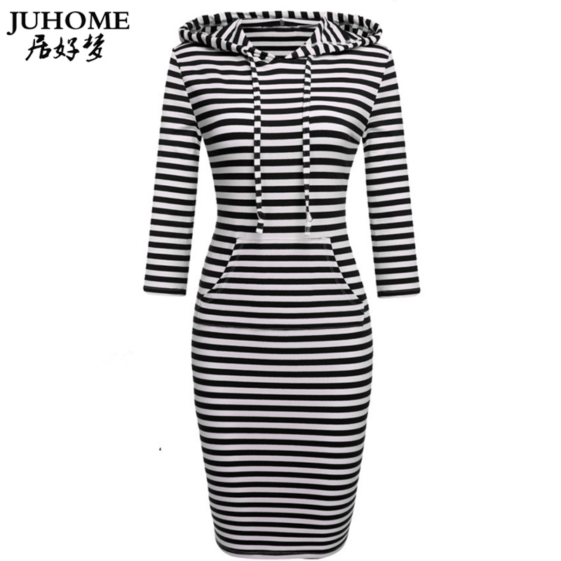 Plus Size Women Clothing 2018 Autumn New Fashion Casual Straight Long Hoodies Dress Pullover Striped Sweatshirt Hooded Tracksuit