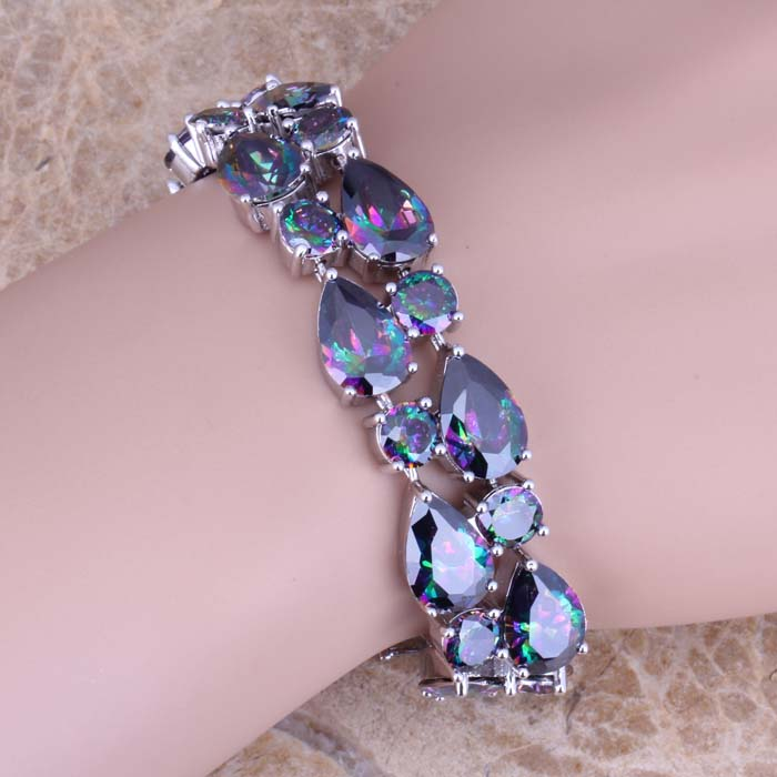 Classy Rainbow Cubic Zirconia 925 Sterling Silver Link Chain Bracelet 7 - 8 inch S0670