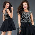 Short Homecoming Dresses for 15 Years 2016 Free Shipping A Line Cap Sleeves Beaded Crystal Graduation Dress for Juniors