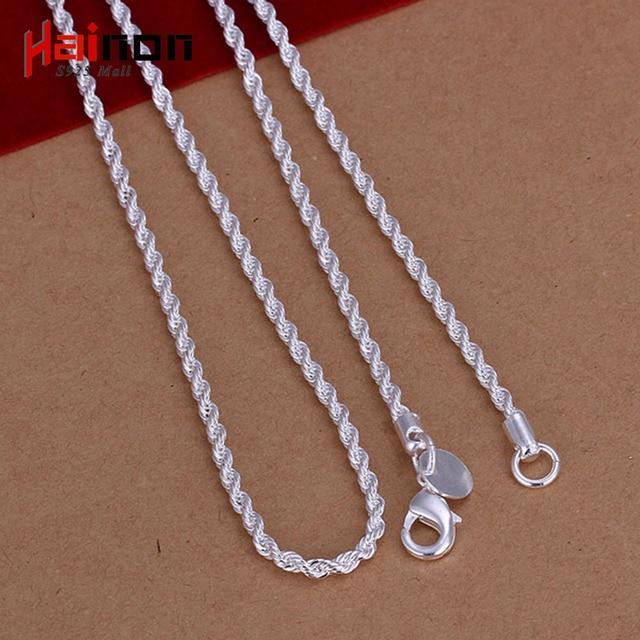78757dc789bc 2017 Collier joyería fina plata Color cadena collar plata ColorPlated 2mm a  granel joyería collar trenzado