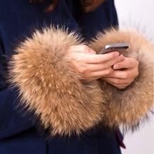 1 Pair Nature Genuine Raccoon Fur Arm Warmers Sleeve Decor Winter Pompom Fluffy Cute Cuffs Women Cute Accessories G001-30X16cm