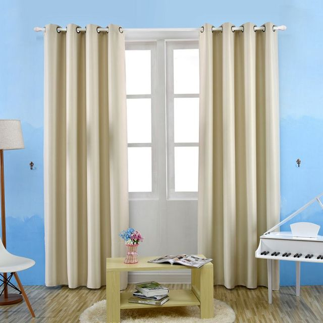 High Quality Blackout Solid Color Perforated Curtains For Living Room Voilage Fenetre XS S M L XL Verduisterende