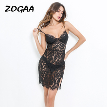ZOGAA Hot Sexy Women Female Black Lace Spaghetti Strap Evening Night Bodycon Mini Dress Short Club 2019 Party