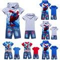 Babys niños hoodies + pantalones vaqueros avión deportes trajes de Spiderman Coches Historieta de los muchachos niños que arropan el sistema kids clothes set