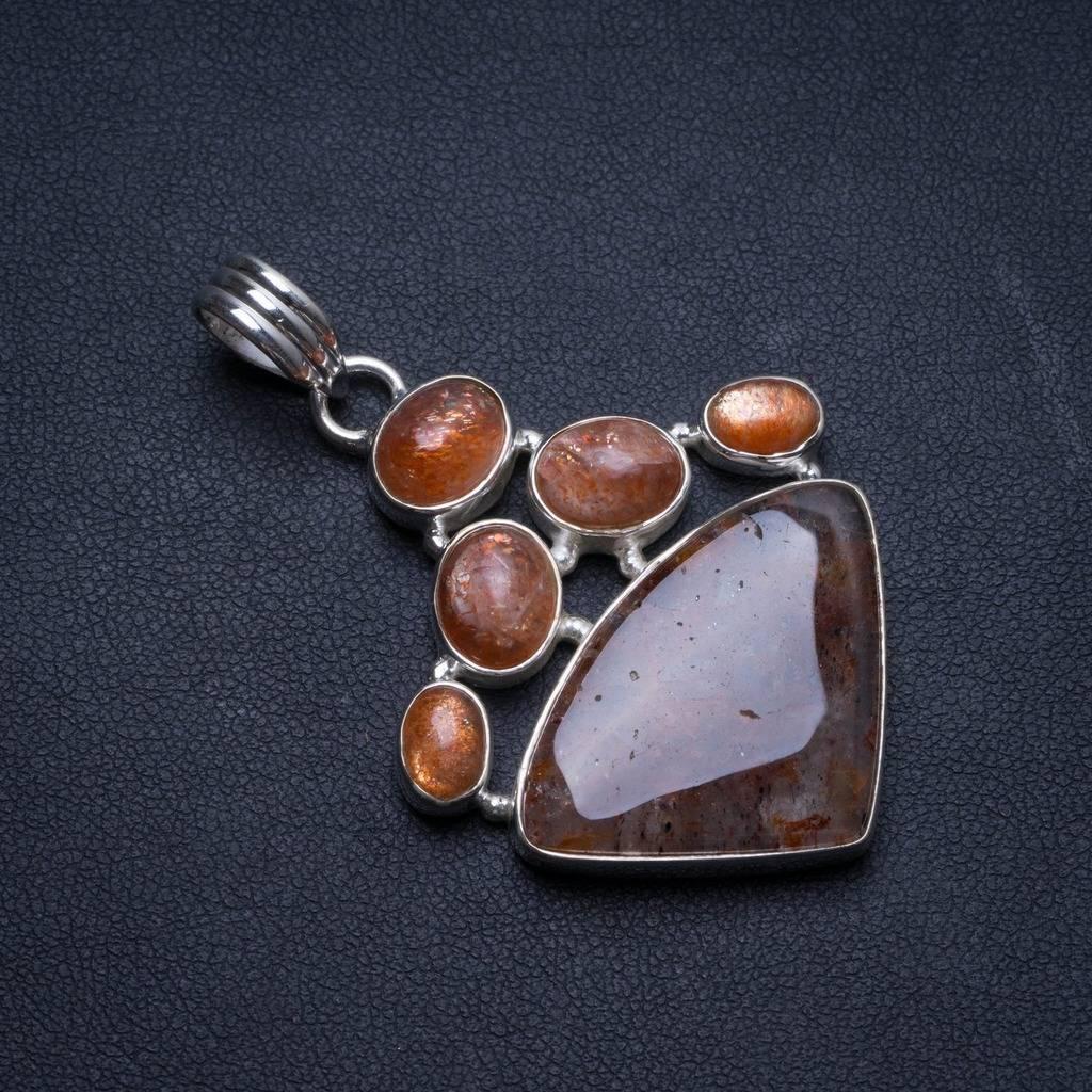 Calcite naturelle et Quartz pastèque fait à la main en argent Sterling mexicain 925 pendentif 2