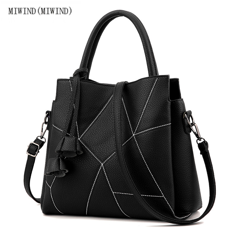 ФОТО MIWIND(MIWIND)High quality handbags red Korean fashion soft side PU double zipper pure polyester ladies shoulder bags