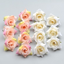 100PCS DIY Artificial White Rose Silk Flowers Head For Home Wedding Party Decoration Wreath Gift Box Scrapbooking Fake Flowers