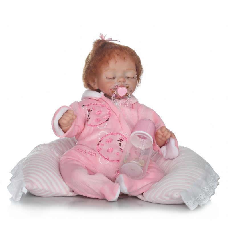 Cosplay Asleep Girl Reborn Baby Doll 17 Inch Soft Silicone Baby Doll Handmade Realistic Newborn Toy Babies Birthday Xmas аксессуары для косплея neko cosplay