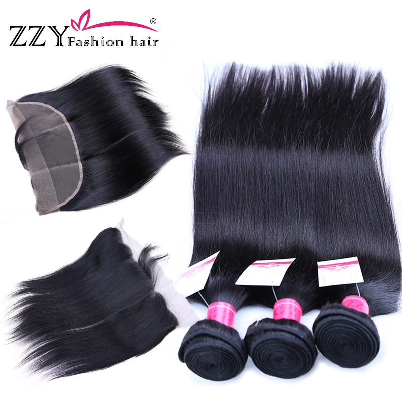 ZZY Fashion Hair Lace Frontal Closure with Bundles Straight Human Hair Bundles with Lace Closure Non-Remy Hair
