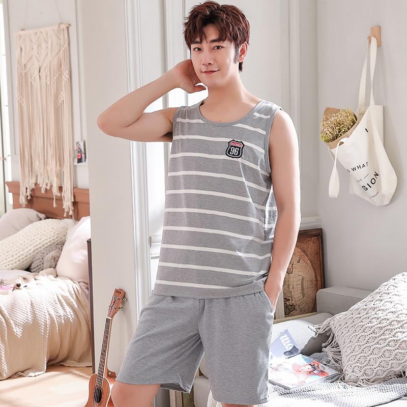 Mens Vest Shorts Striped Pajamas Cotton Pyjamas Set Summer Thin Knit Sleepwear Set Loungewear Plus Size L,XL,XXL,XXXL,4XL
