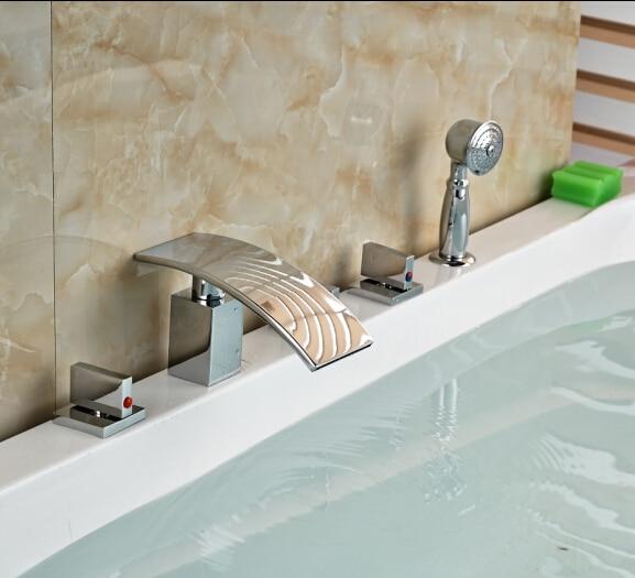 W/Hand Shower Bathroom Faucet 5pcs Tub Tap Hot&Cold Faucet Deck Mounted Shape