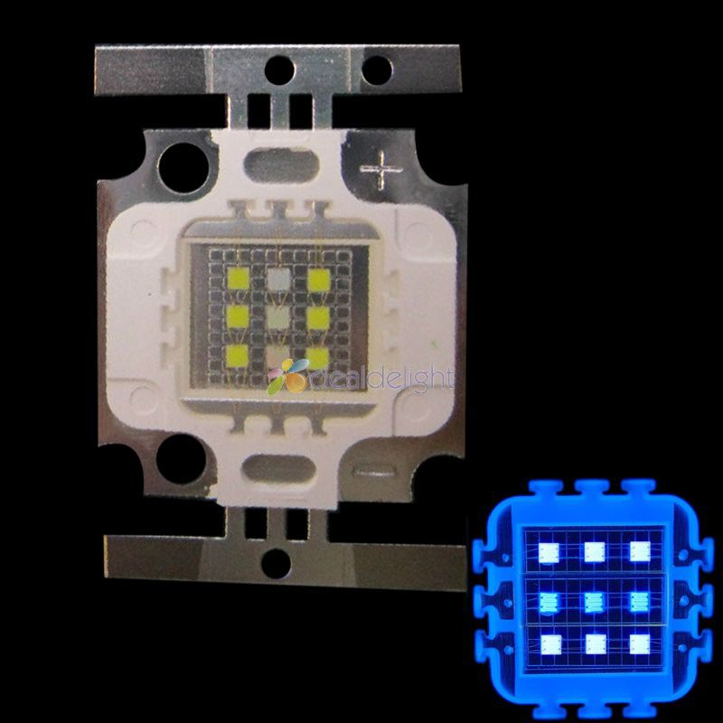 10W Square 6x Cool White 10000K+3x Royal Blue 450nm-455nm High Power <font><b>LED</b></font> Light Bulb for Aquarium image