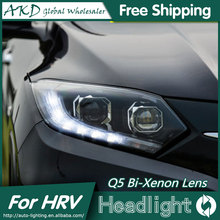 AKD Car Styling for Honda HRV Headlights 2014-2016 Vezel LED Headlight DRL Bi Xenon Lens High Low Beam Parking Fog Lamp